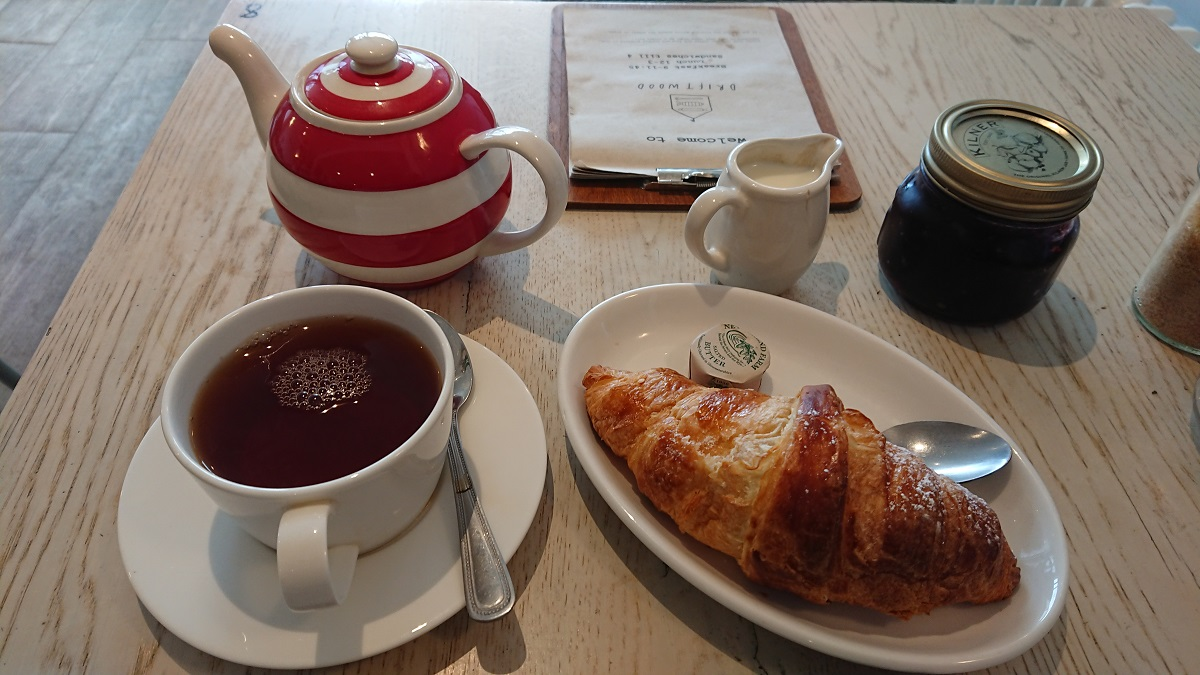 Croissant and blackcurrant jam Driftwood Cafe